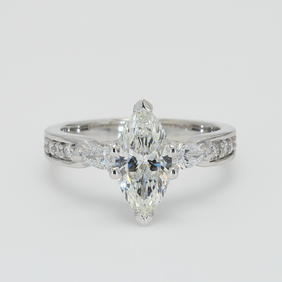 Custom Marquise Cut Engagement Ring with Pear Set