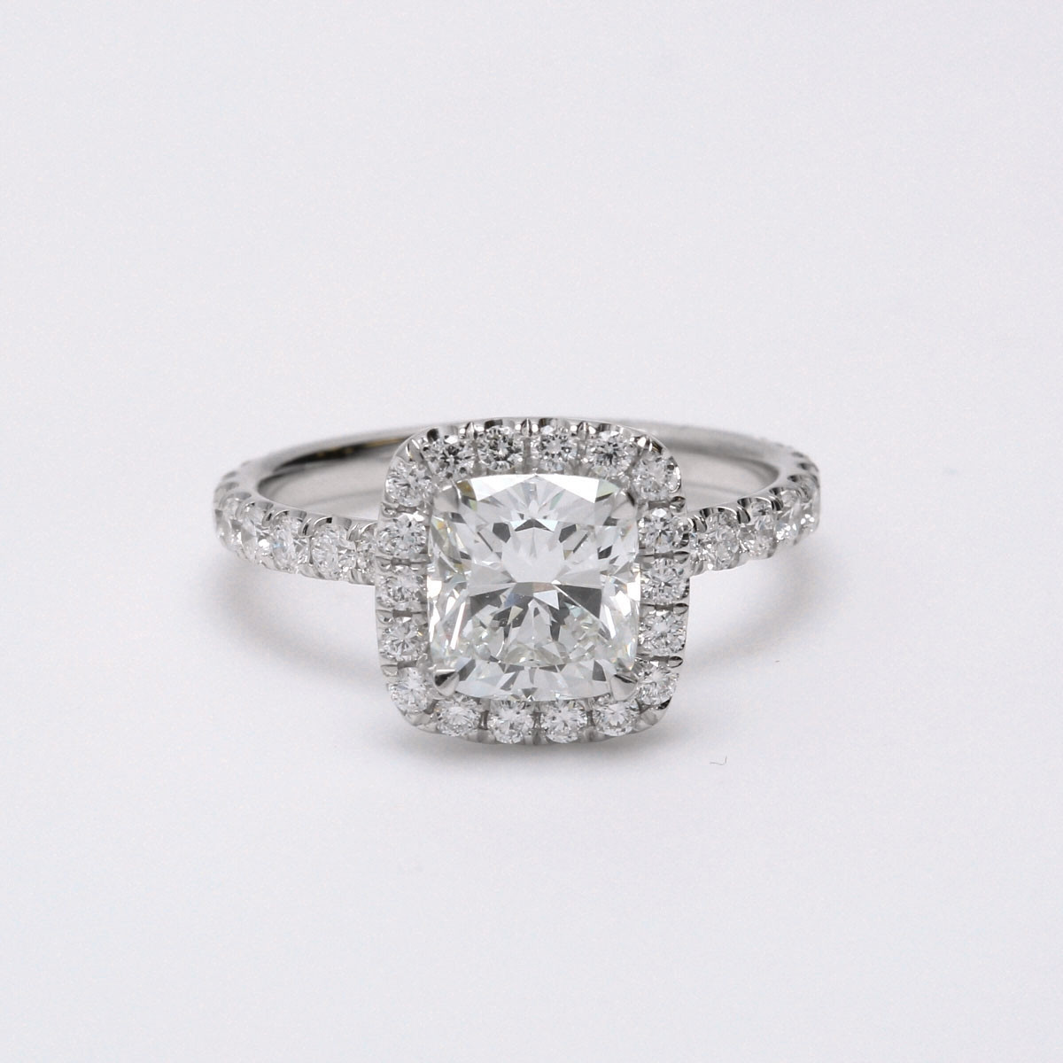 Diamond Halo Semi Mount Engagement Ring in White Gold
