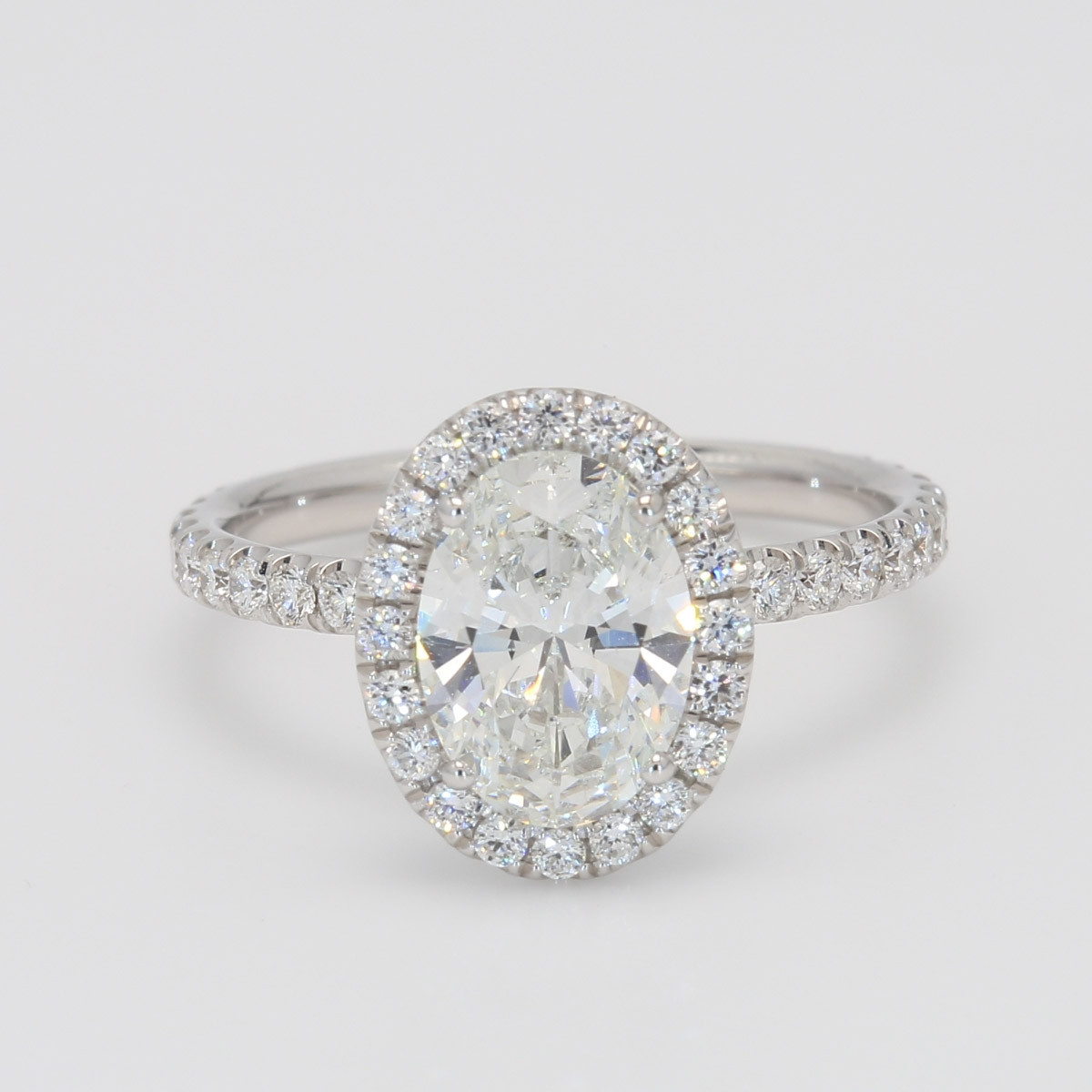 1.71 Carat Oval Halo Diamond Engagement Ring