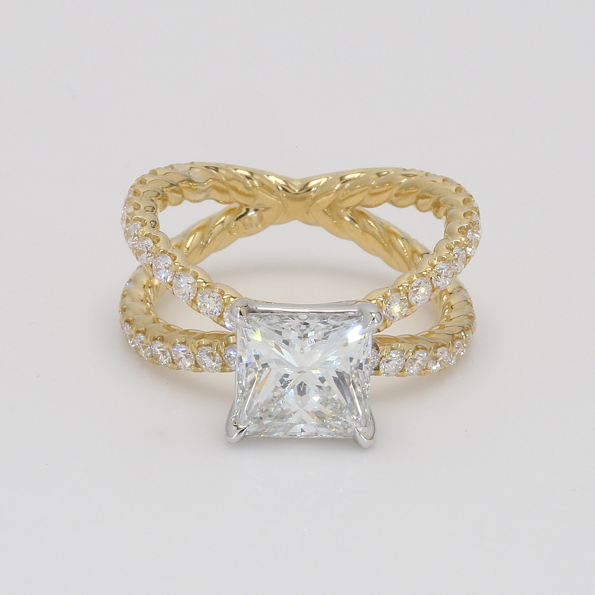 2.21Ct Princess Cut Engagement Ring in Yellow Gold