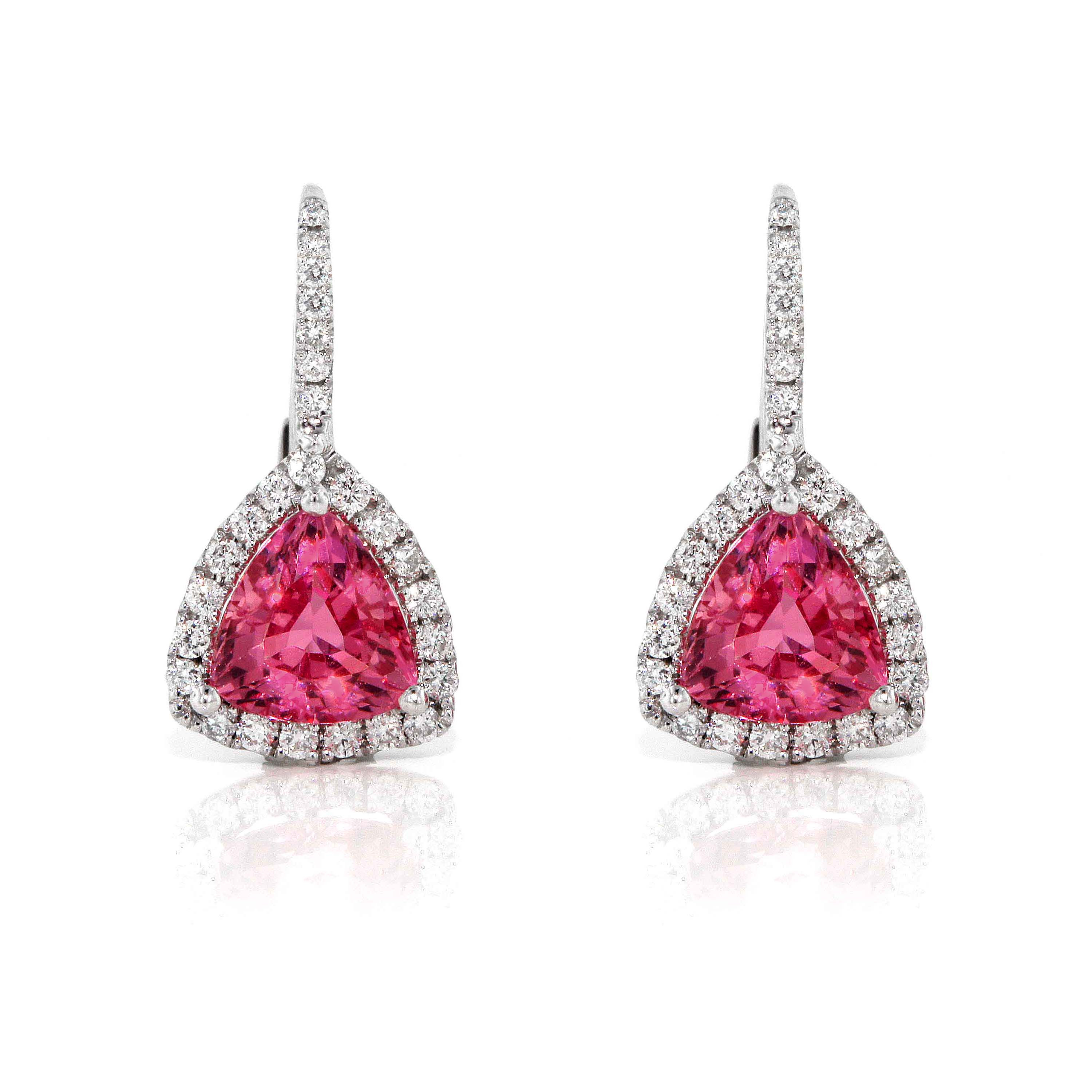 White Gold Pink Sapphire Triangle Halo Earrings
