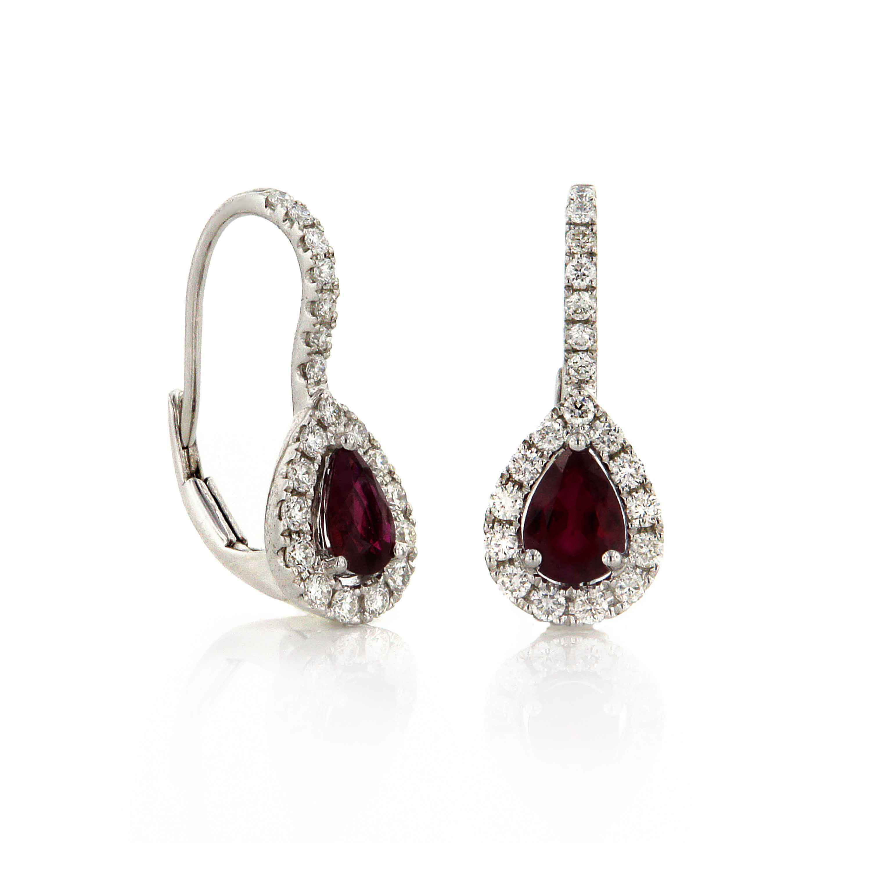 White Gold Haute Couture Ruby Earrings