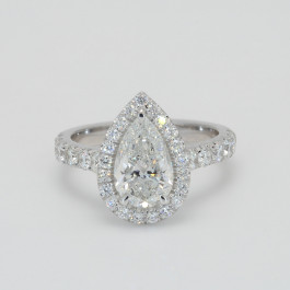 GIA 1.50Ct Pear Shaped Diamond Halo Engagement Ring