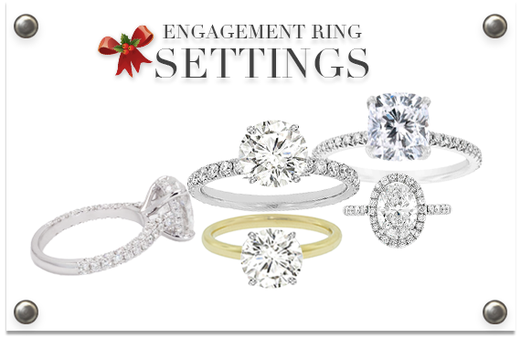 group of engagement ring settings with diamonds