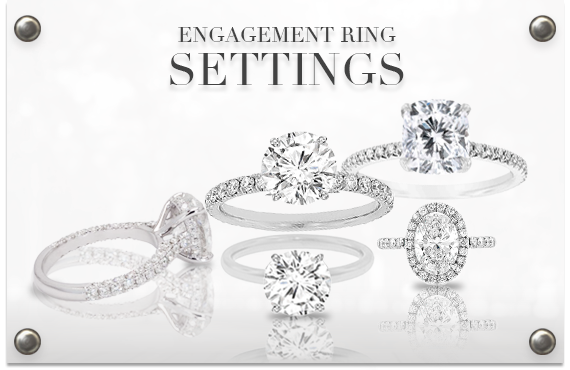 diamond engagement rings settings in a group