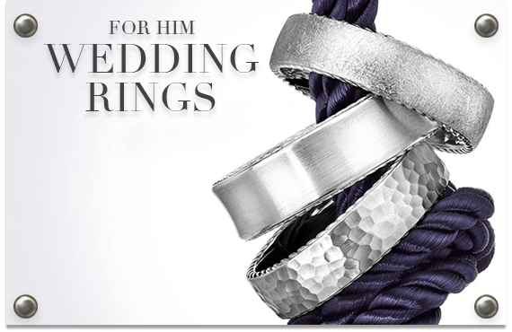 group of mens wedding bands on rope