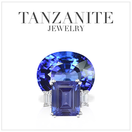 loose tanzanite with tanzanite ring in front
