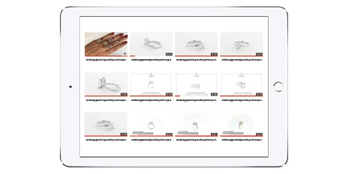 ipad showing videos of jewelry
